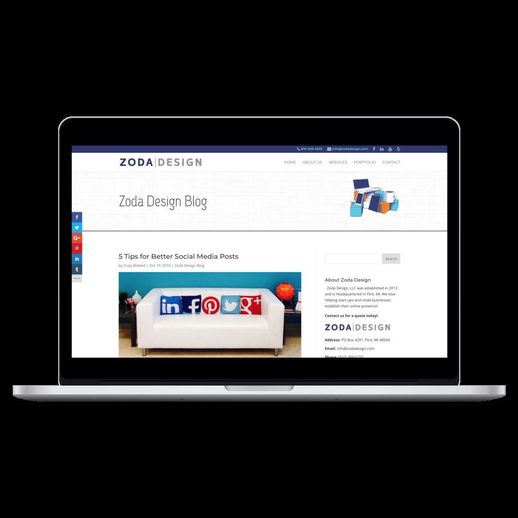 Wrote Blog for Zoda Design (WordPress)